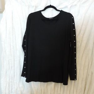 Relativity Black Long Sleeve Sweater Pearl Accents